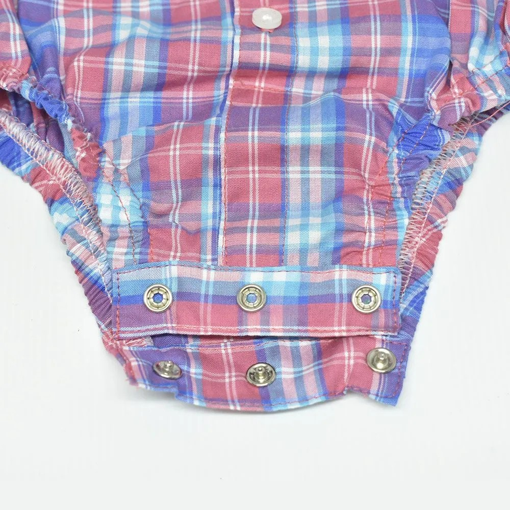 Body Camisa Infantil Cowboys Xadrez Rosa e Azul
