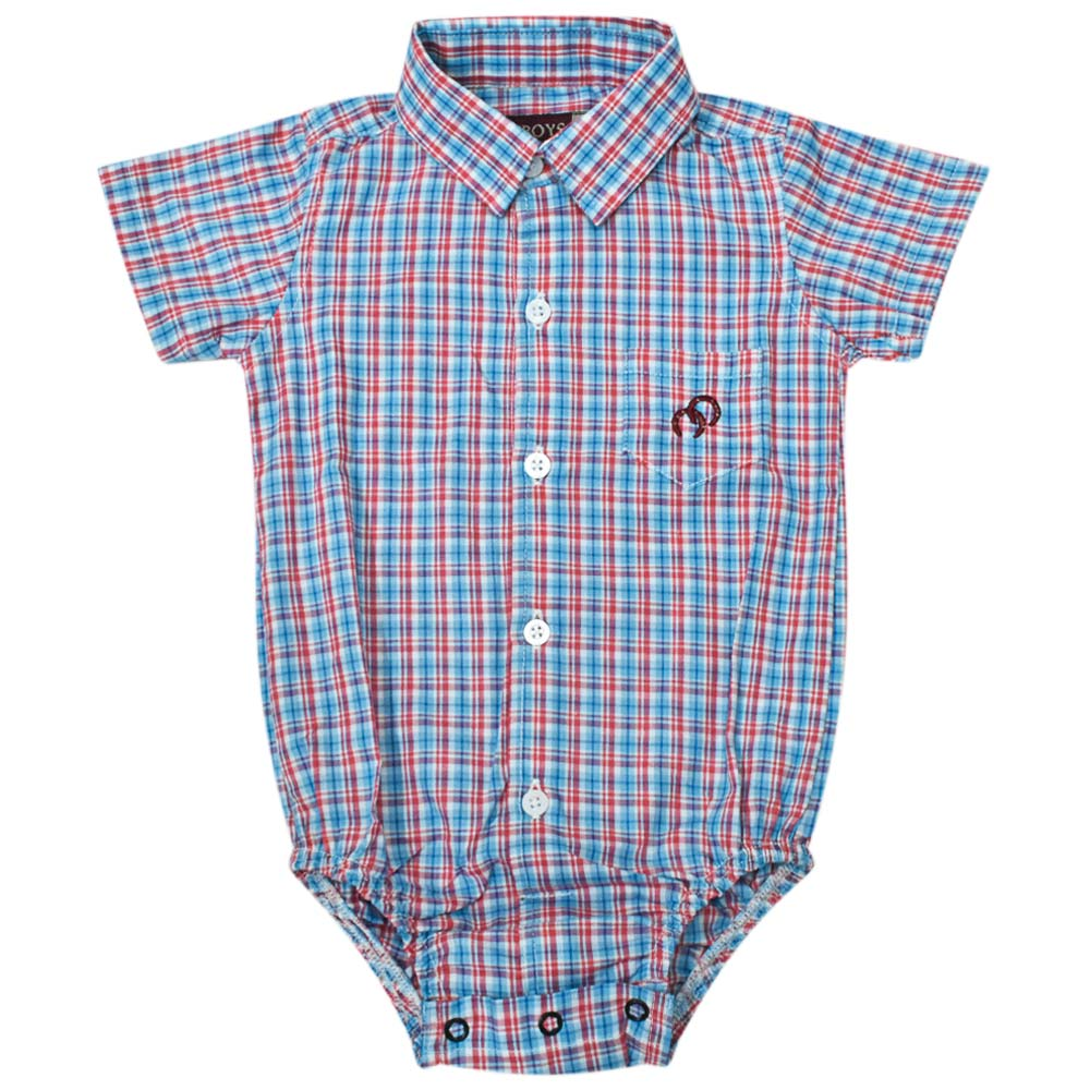 Body Camisa Infantil Cowboys Manga Curta Pai e Filho Xadrez Vermelho, Branco e Azul