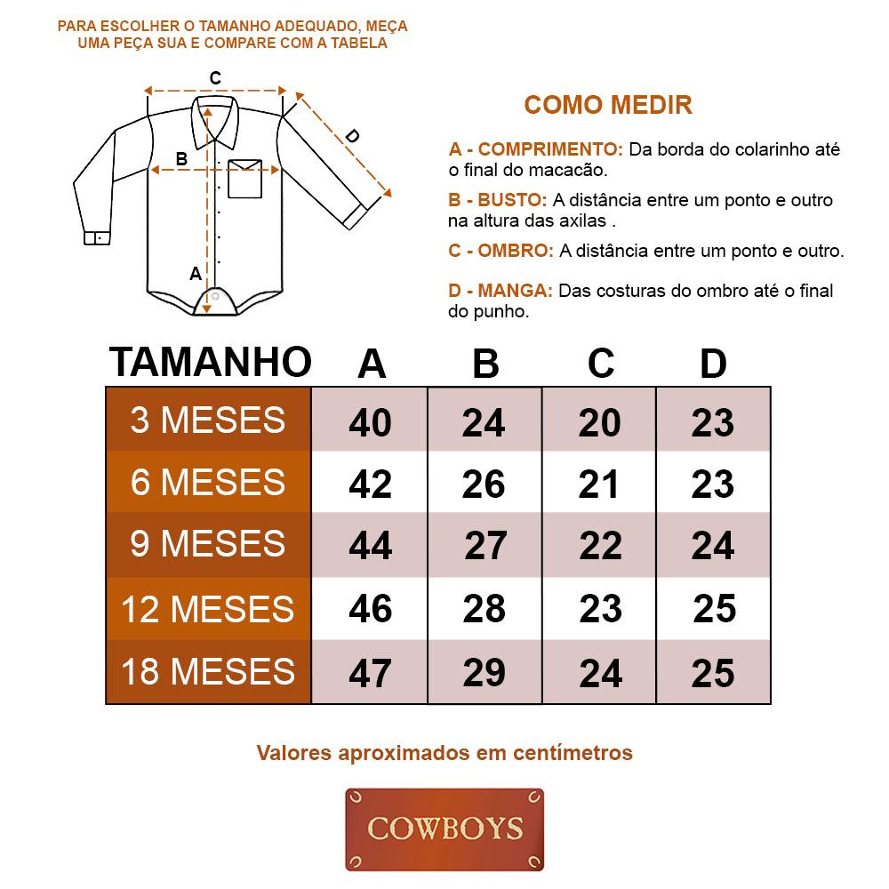 Body Camisa Infantil Cowboys Manga Longa Pai, Mãe e Filho Xadrez Vermelho, Azul e Branco