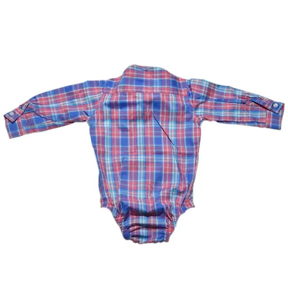 Body Camisa Infantil Cowboys Manga Longa Pai, Mãe e Filho Xadrez Rosa e Azul