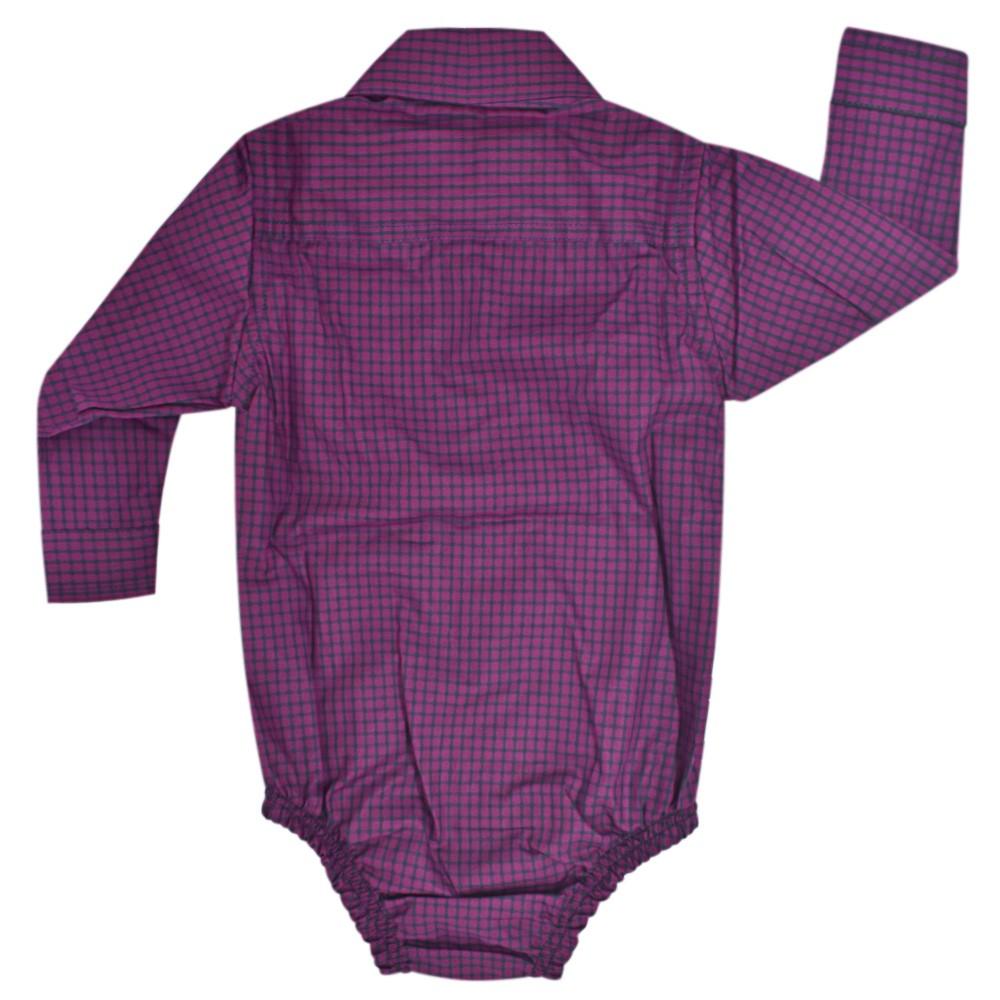 Body Camisa Infantil Pai, Mãe e Filho Cowboys Xadrez Roxo e Preto