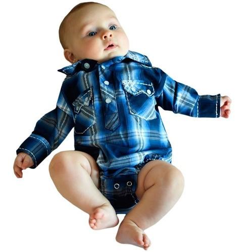 Body Camisa Infantil Importado Xadrez Azul e Cinza