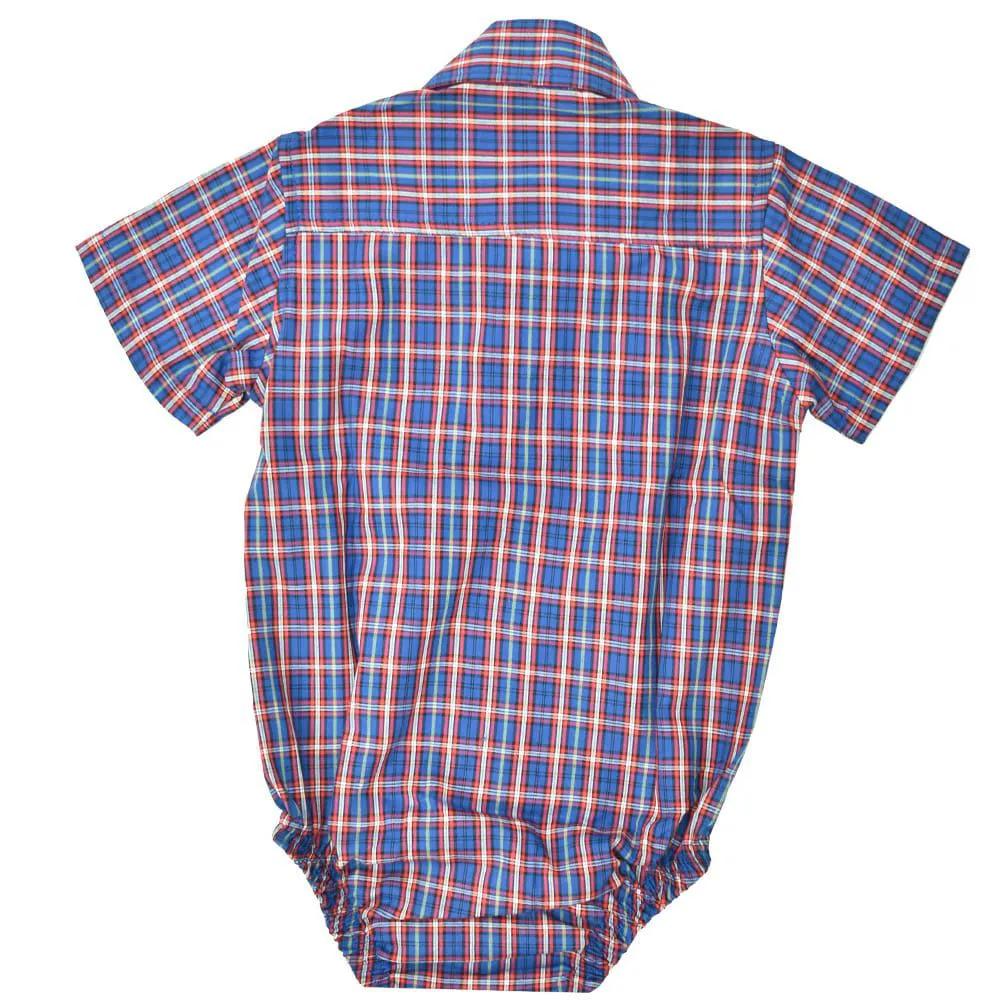 Body Camisa Infantil Cowboys Xadrez Roxo e Vermelho