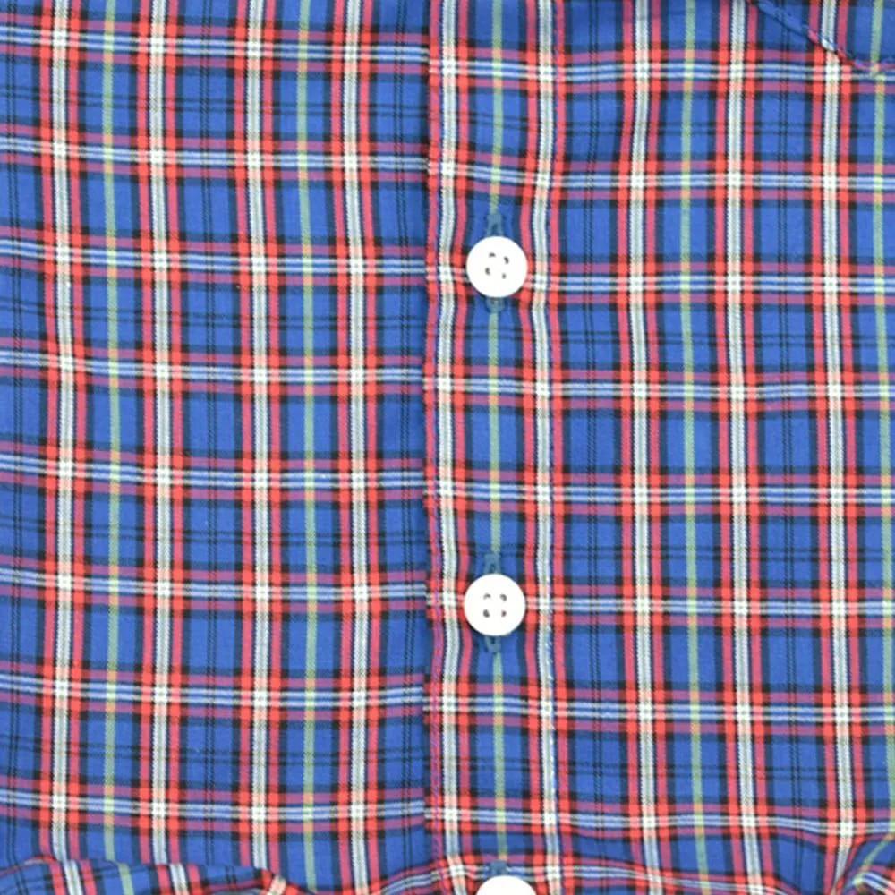 Body Camisa Infantil Cowboys Manga Curta Xadrez Roxo e Vermelho