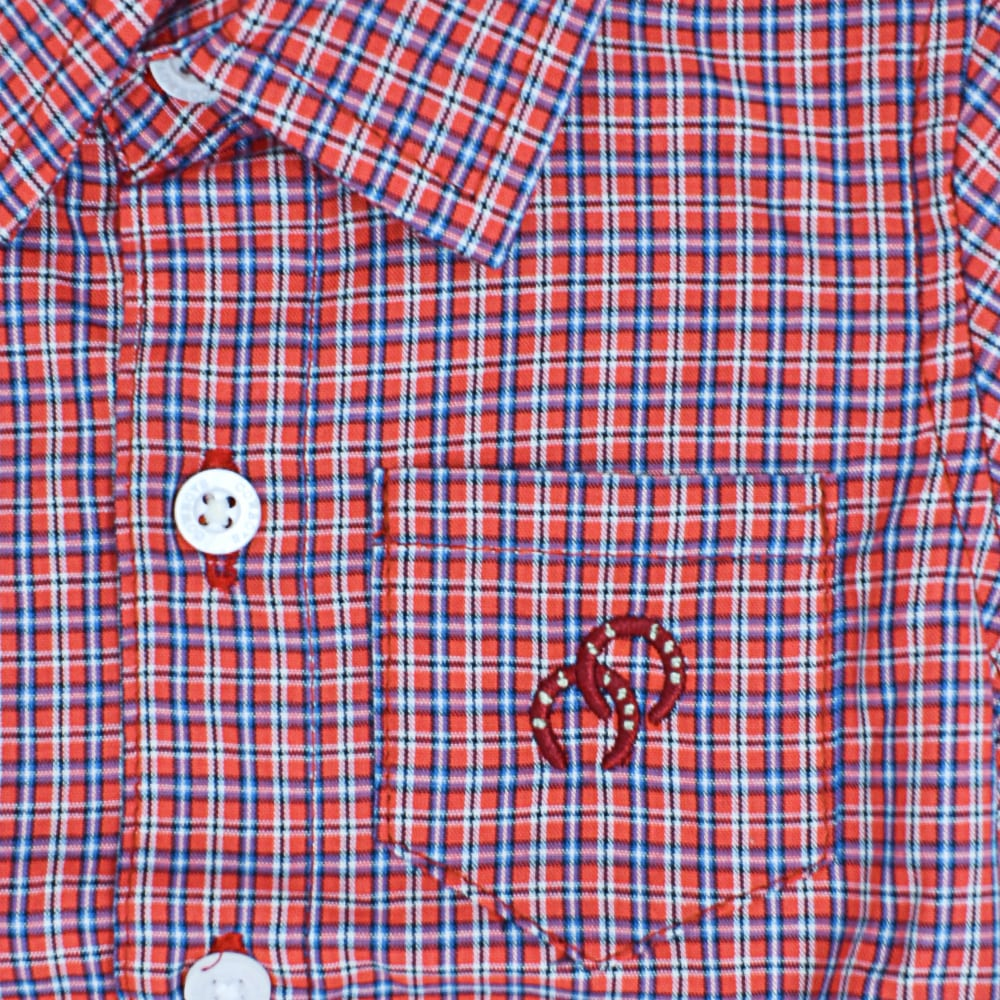 Body Camisa Infantil Cowboys Manga Curta Xadrez Vermelho, Azul e Branco