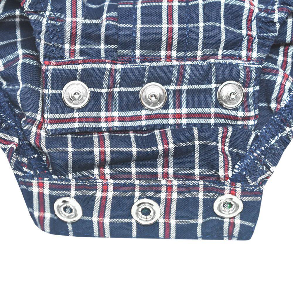 Body Camisa Infantil Cowboys Xadrez Azul Marinho e Vermelho