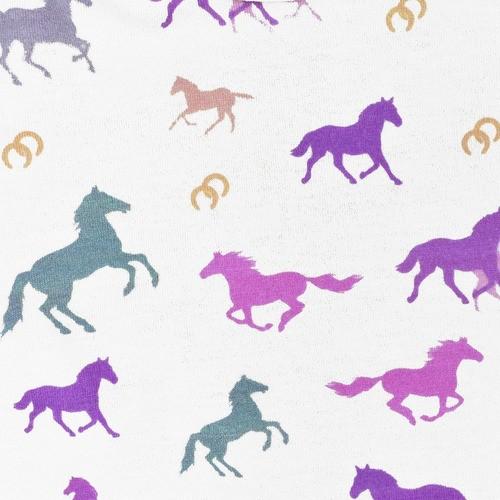 Body Infantil Cowboys Branco e Pink Cavalos Coloridos