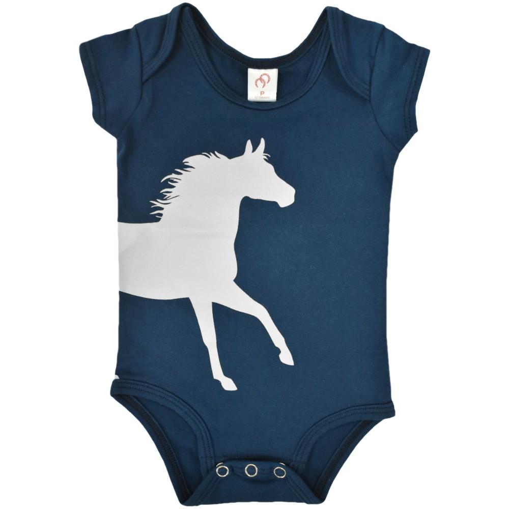 Body Infantil Cowboys Azul Marinho Cavalo Cinza