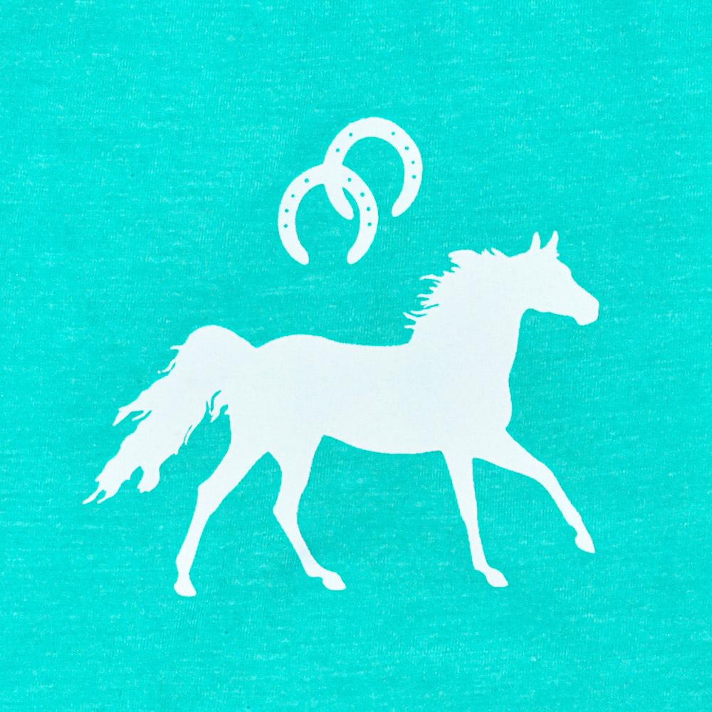 Body Infantil Cowboys Mãe e Filha Turquesa Mescla Cavalo e Ferraduras