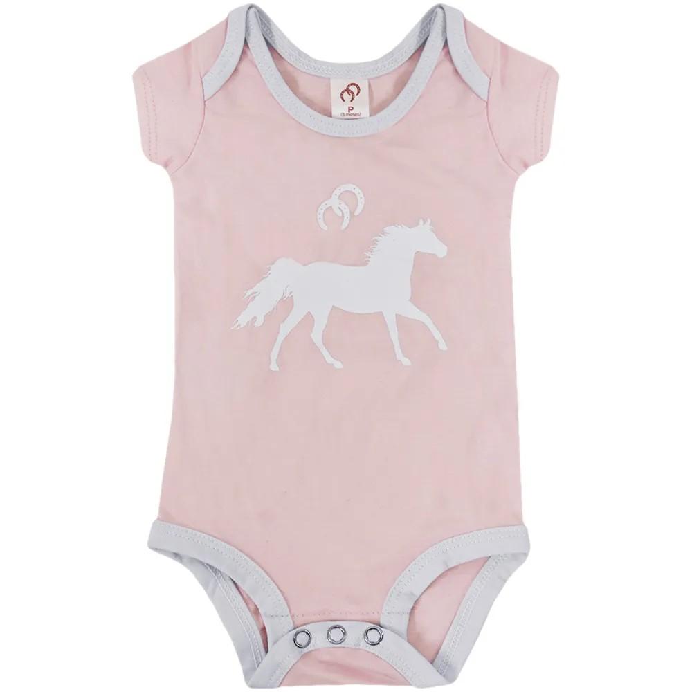 Body Infantil Cowboys Rosa Claro Cavalo e Ferraduras