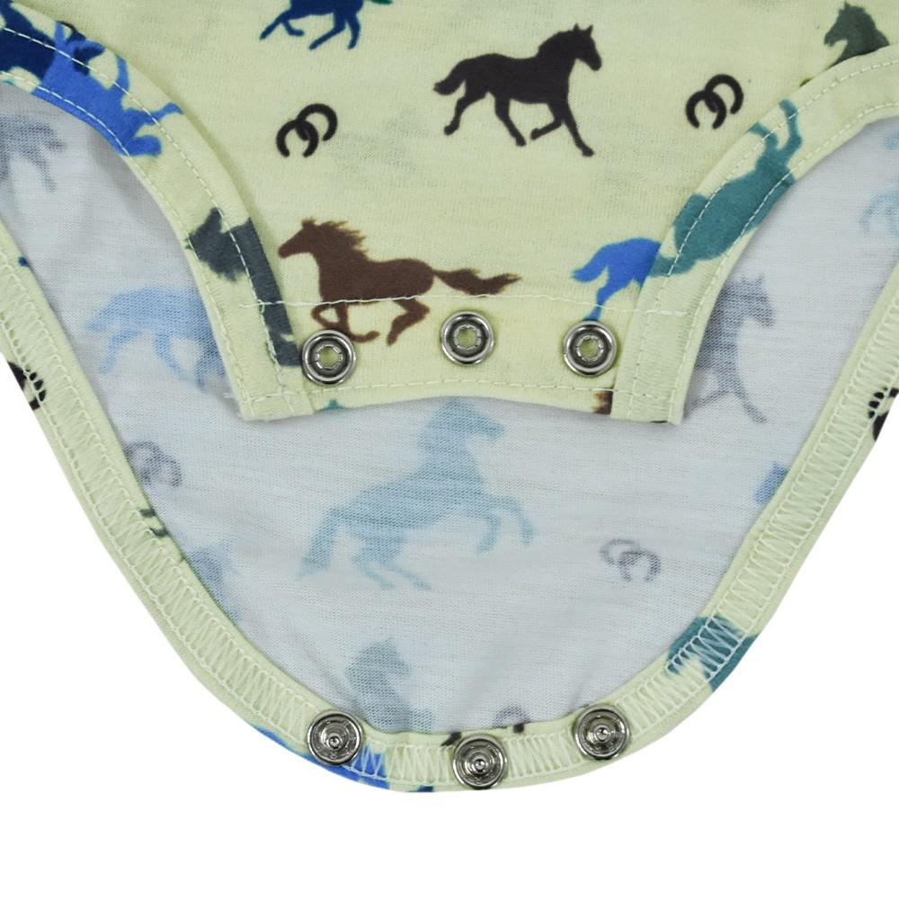 Body Infantil Cowboys Verde Claro Cavalos Coloridos