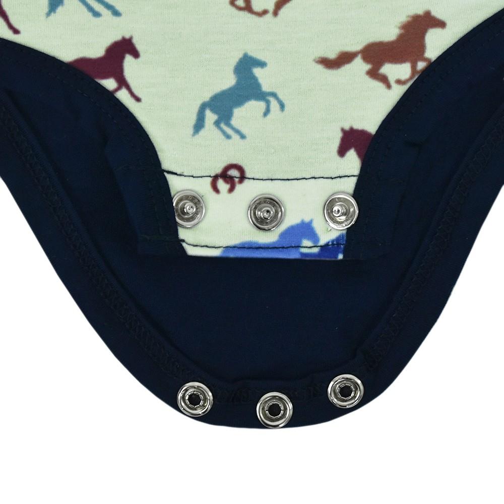 Body Infantil Cowboys Verde Claro e Azul Marinho com Cavalos Coloridos