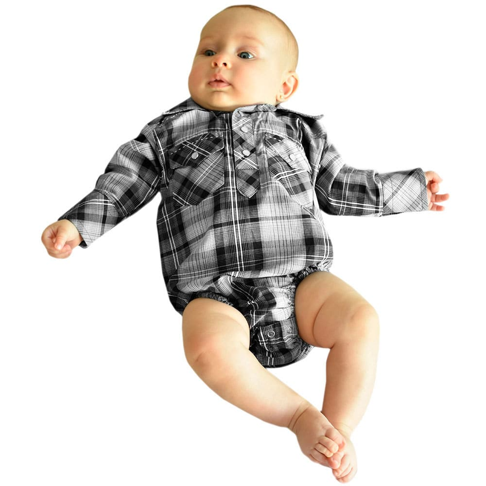 Body Camisa Infantil Importado Xadrez Preto e Cinza