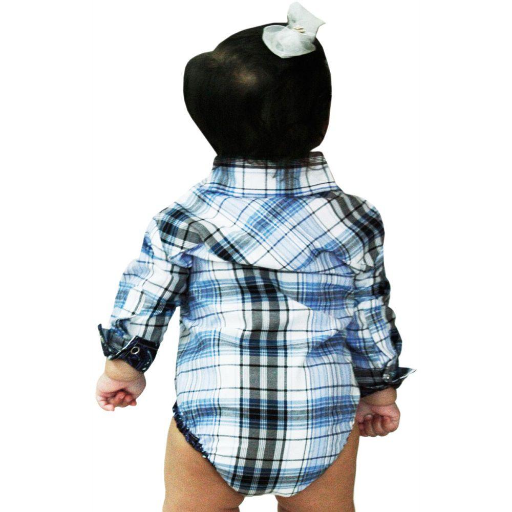 Body Infantil Xadrez Azul Com Manga Longa Importado