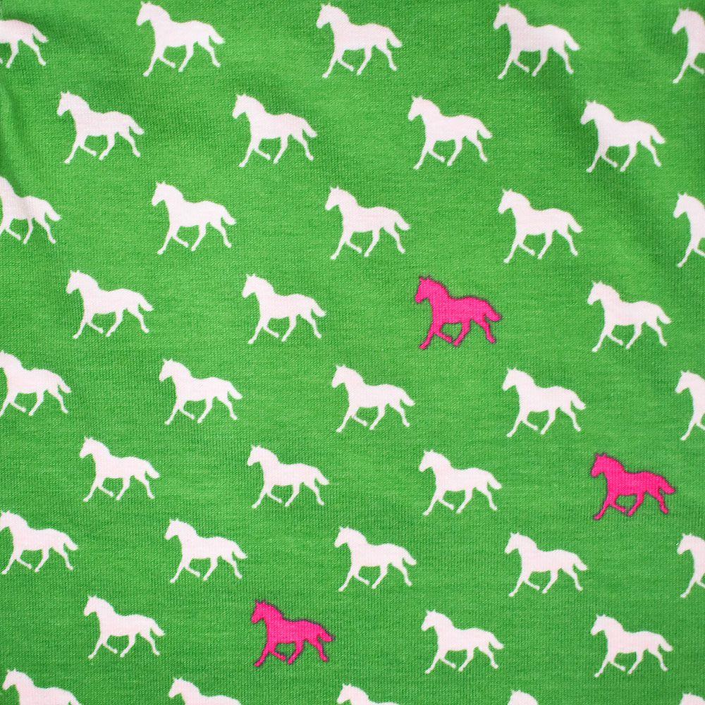 Body Verde e Branco com Estampa de Cavalinhos Rosa