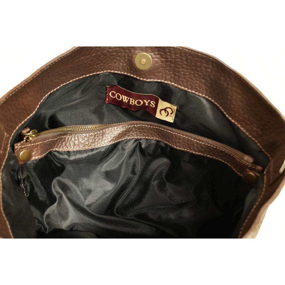 d6b567baa ... Bolsa Couro Marrom Café com Adorno de Cavalo - Cowboys ...