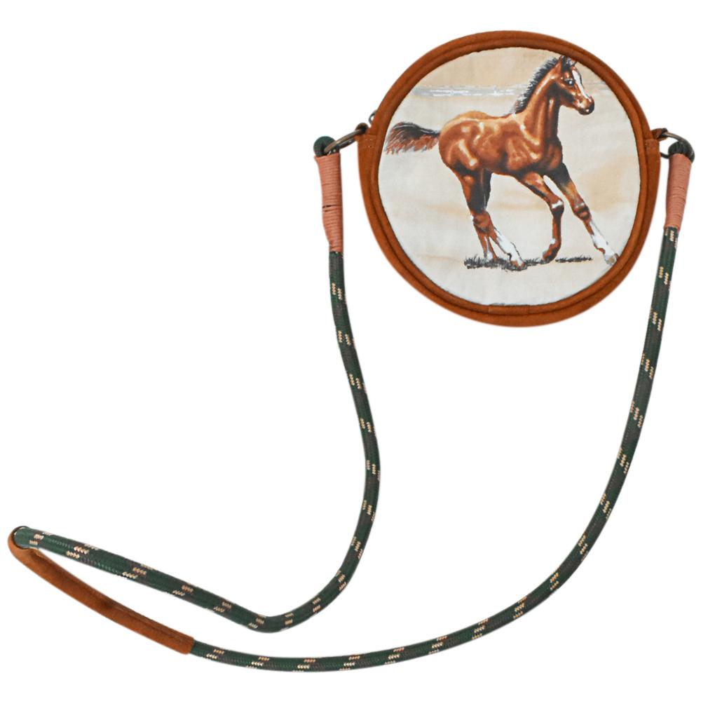 Bolsa Cowboys em Couro Redonda Marrom com Alça de Corda