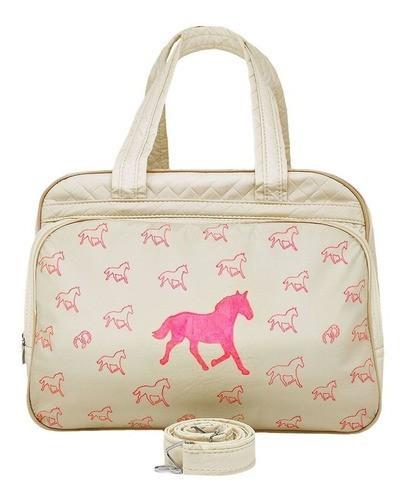 Bolsa Cowboys para Bebê Bege com Cavalinhos Rosa