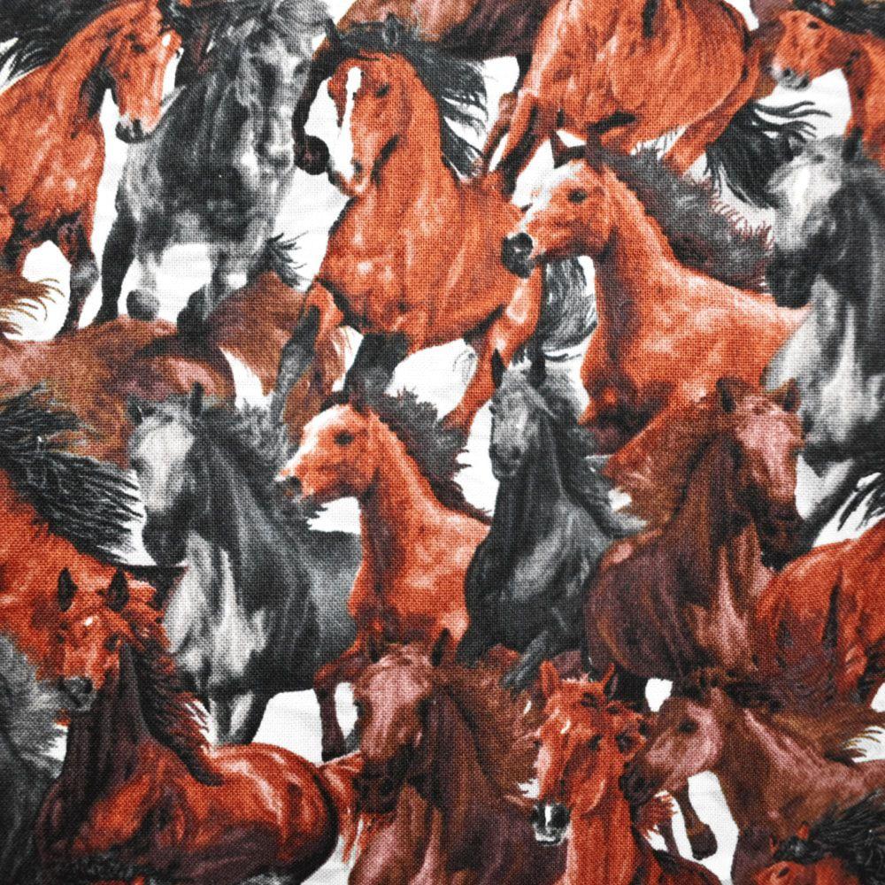 Bolsa de Tecido com Estampa de Cavalos