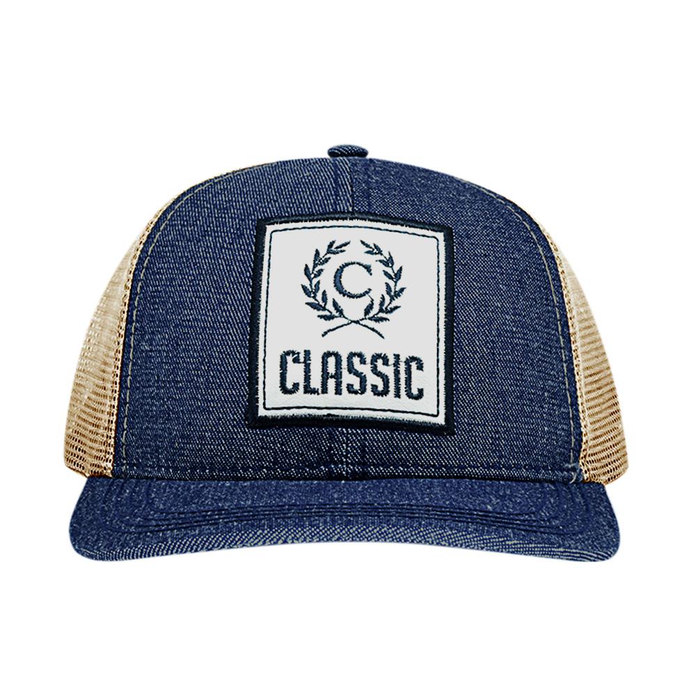 Boné Classic Azul Jeans e Bege com Tela