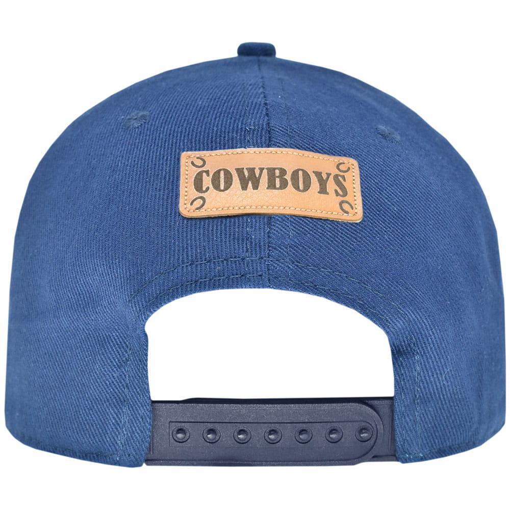Boné Cowboys Azul Ferraduras de Couro