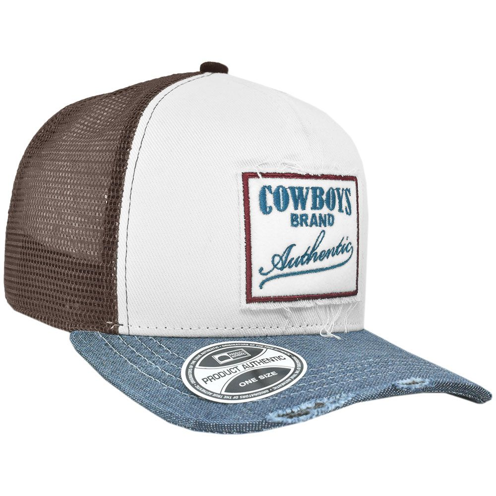 Boné Cowboys Brand Autentic Branco com Tela Marrom
