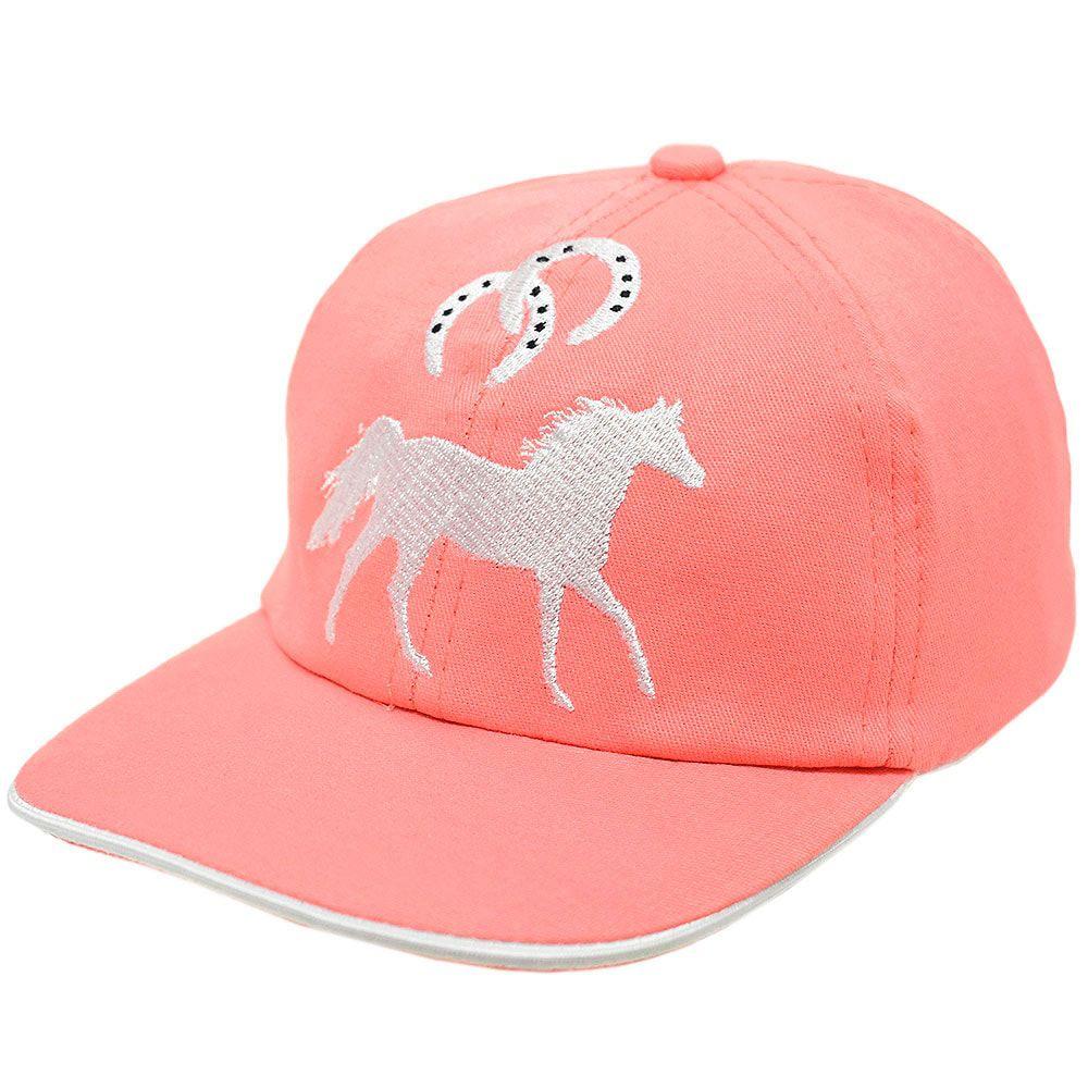 Boné Infantil Cowboys Rosa com Bordado Branco