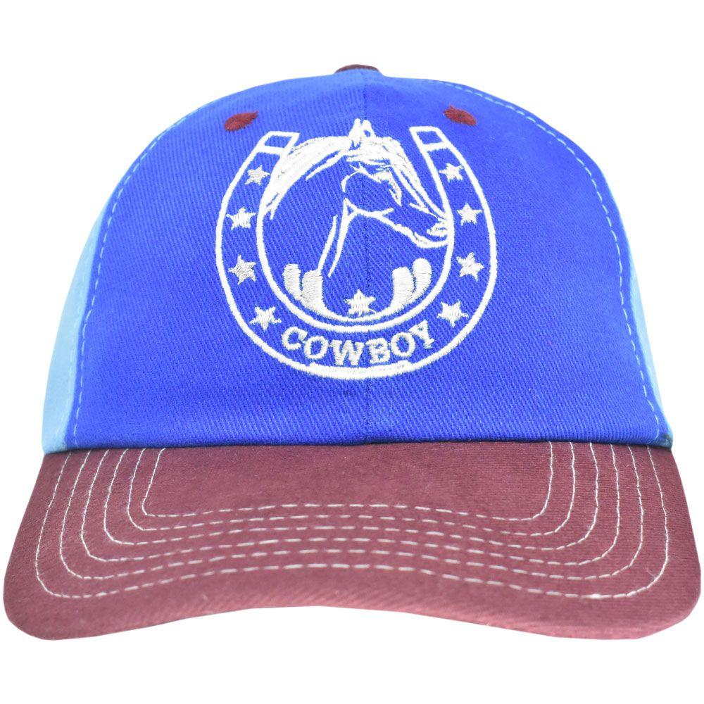 Boné Juvenil Cowboy Azul e Marsala Ferradura e Estrelas
