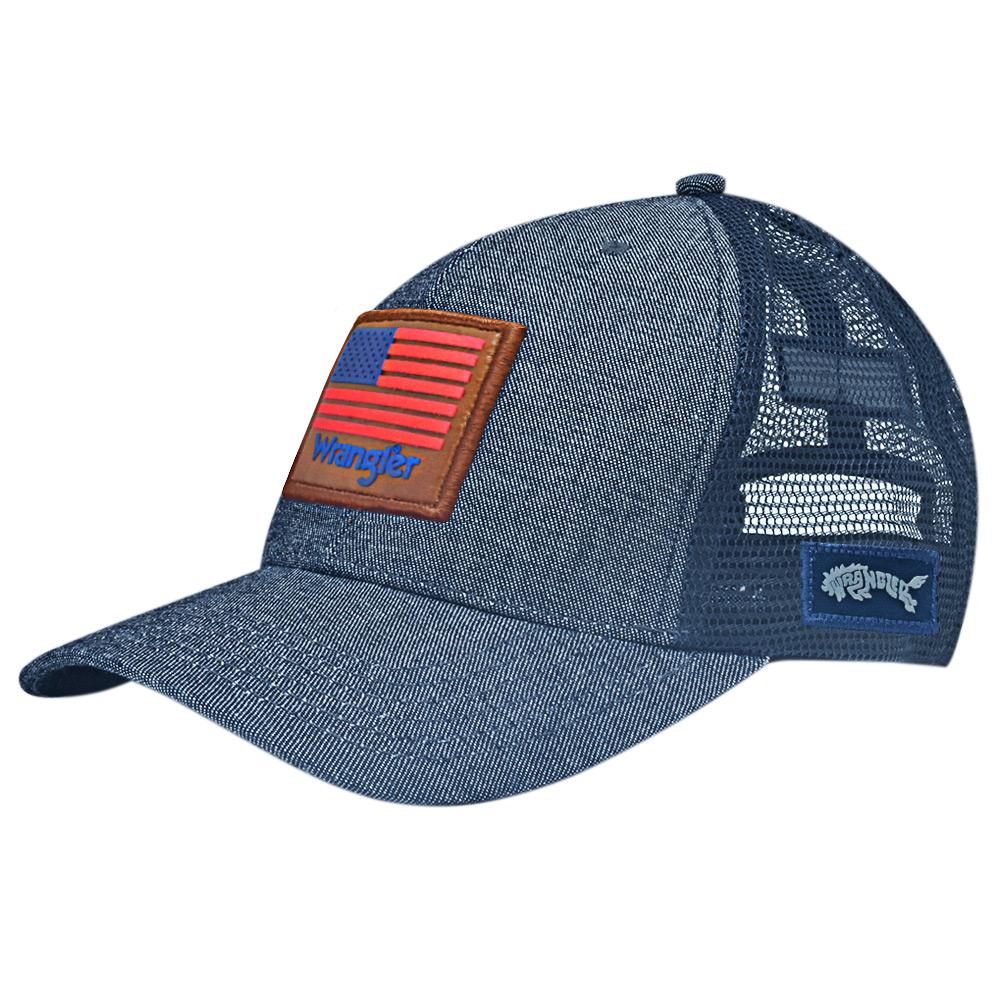 Boné Wrangler 20x Bandeira USA Cinza com Tela
