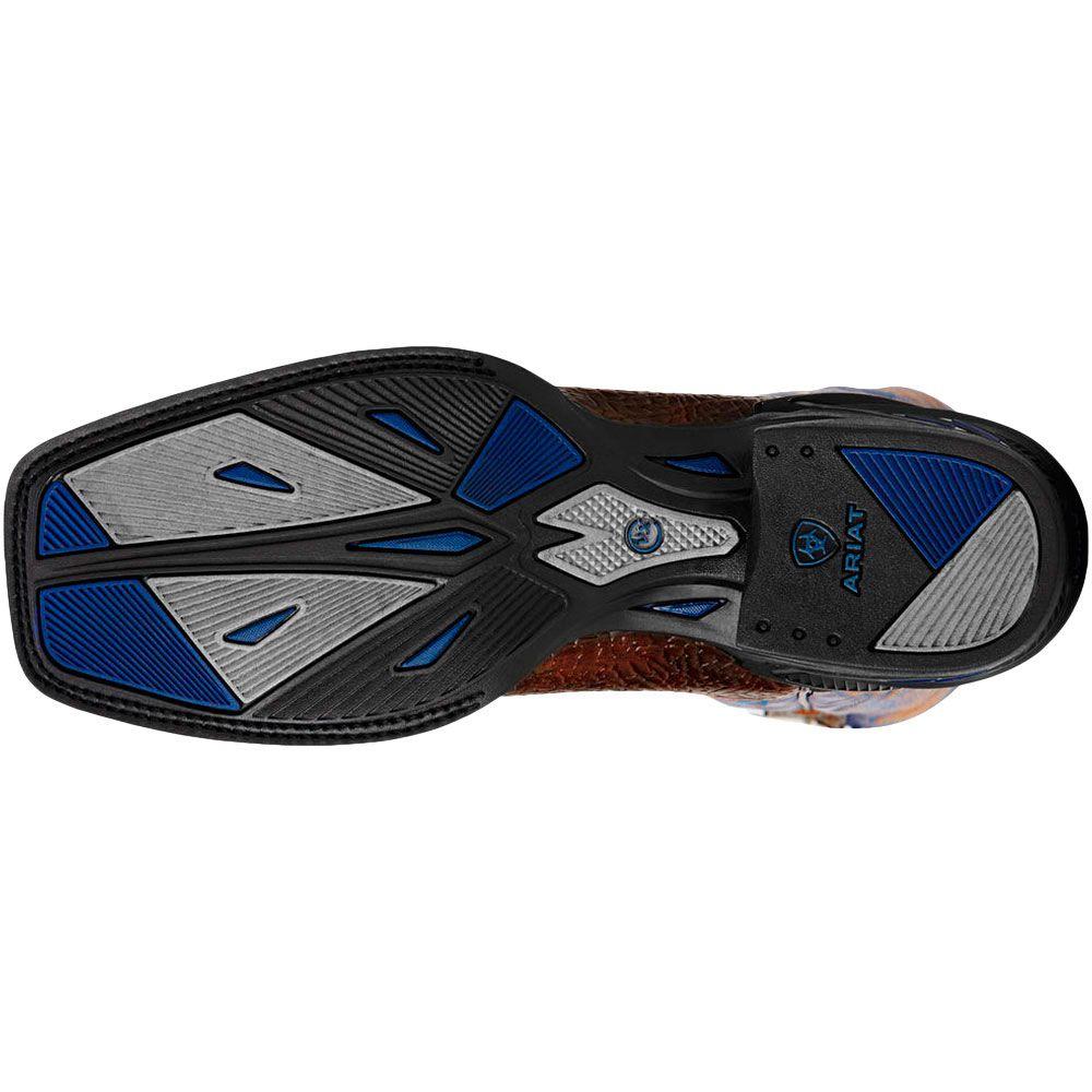 Bota Ariat Bico Quadrado Azul e Marrom Bordados
