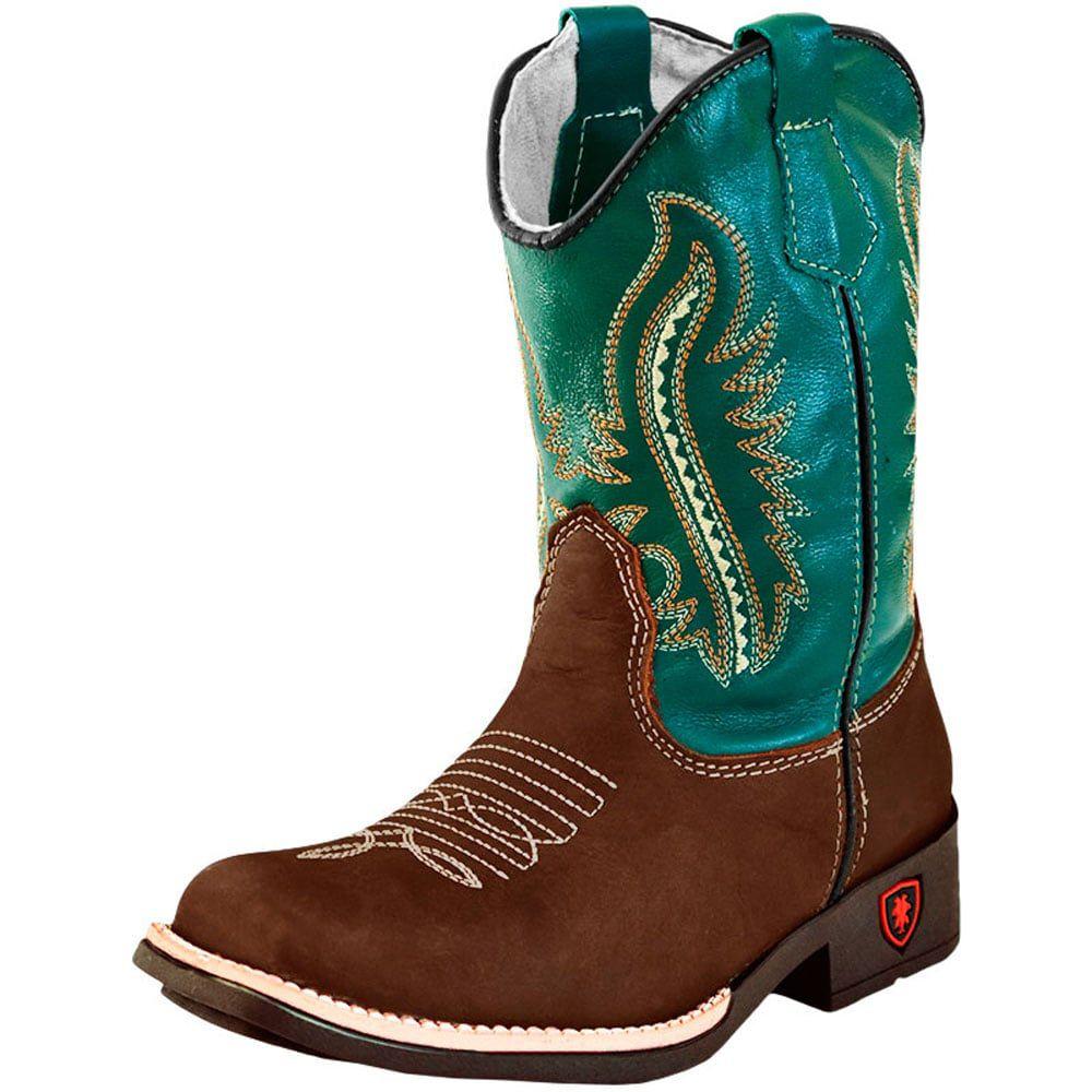 edf93559bf Bota Infantil Cowboys Bico Quadrado Cano Verde Escuro - Loja Cowboys