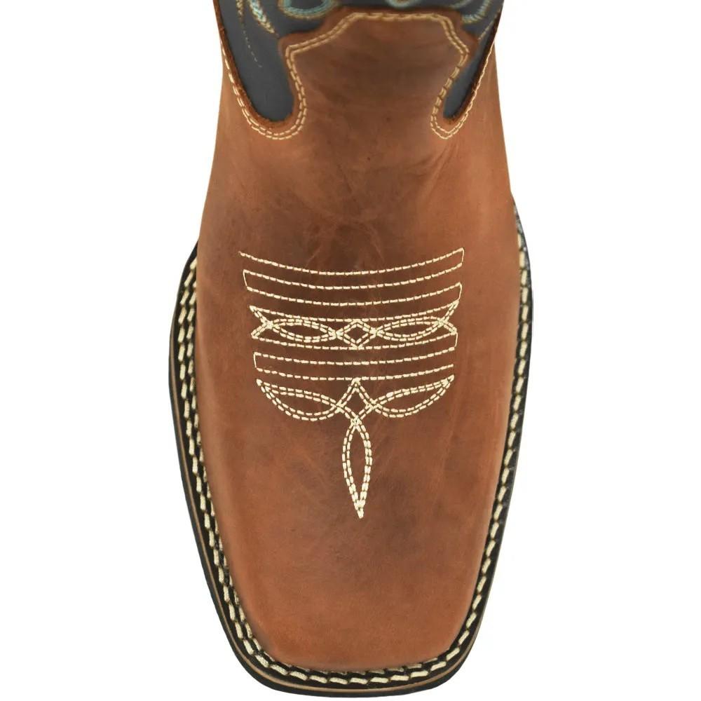 Bota Cowboys Bico Quadrado Fóssil e Preto
