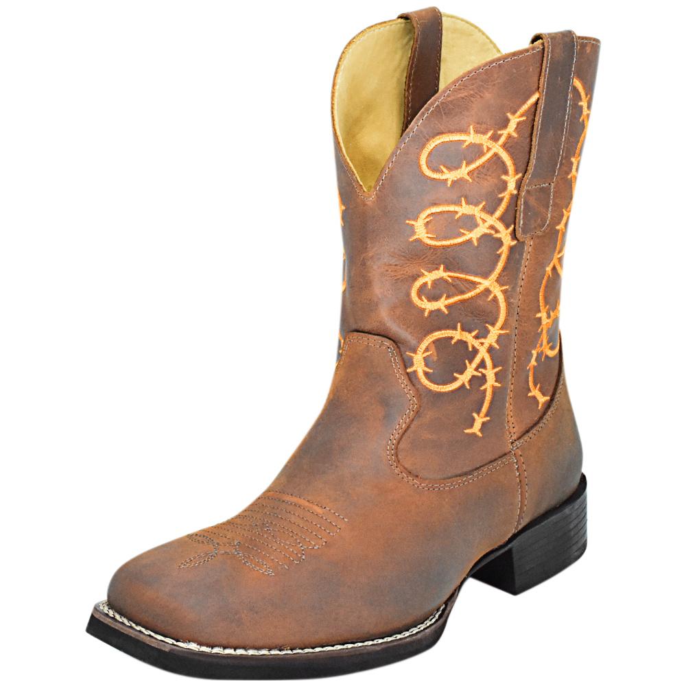 Bota Cowboys Bico Quadrado Havana Bordado Laranja