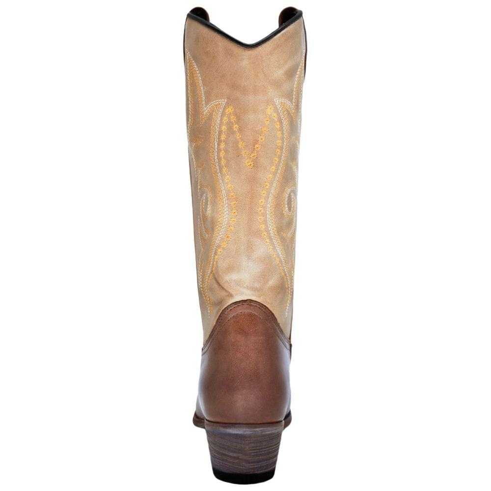 Bota Feminina Cowboys Bico Fino Marrom e Bege