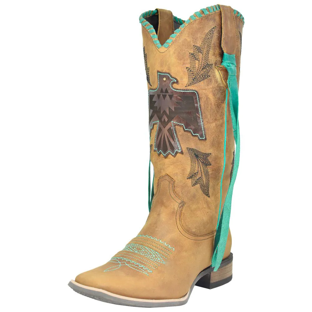 Bota Feminina Cowboys Texana Bege com Detalhes Turquesa