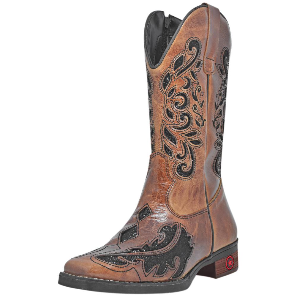 Bota Feminina Cowboys Texana Caramelo com Brilho Bico Quadrado