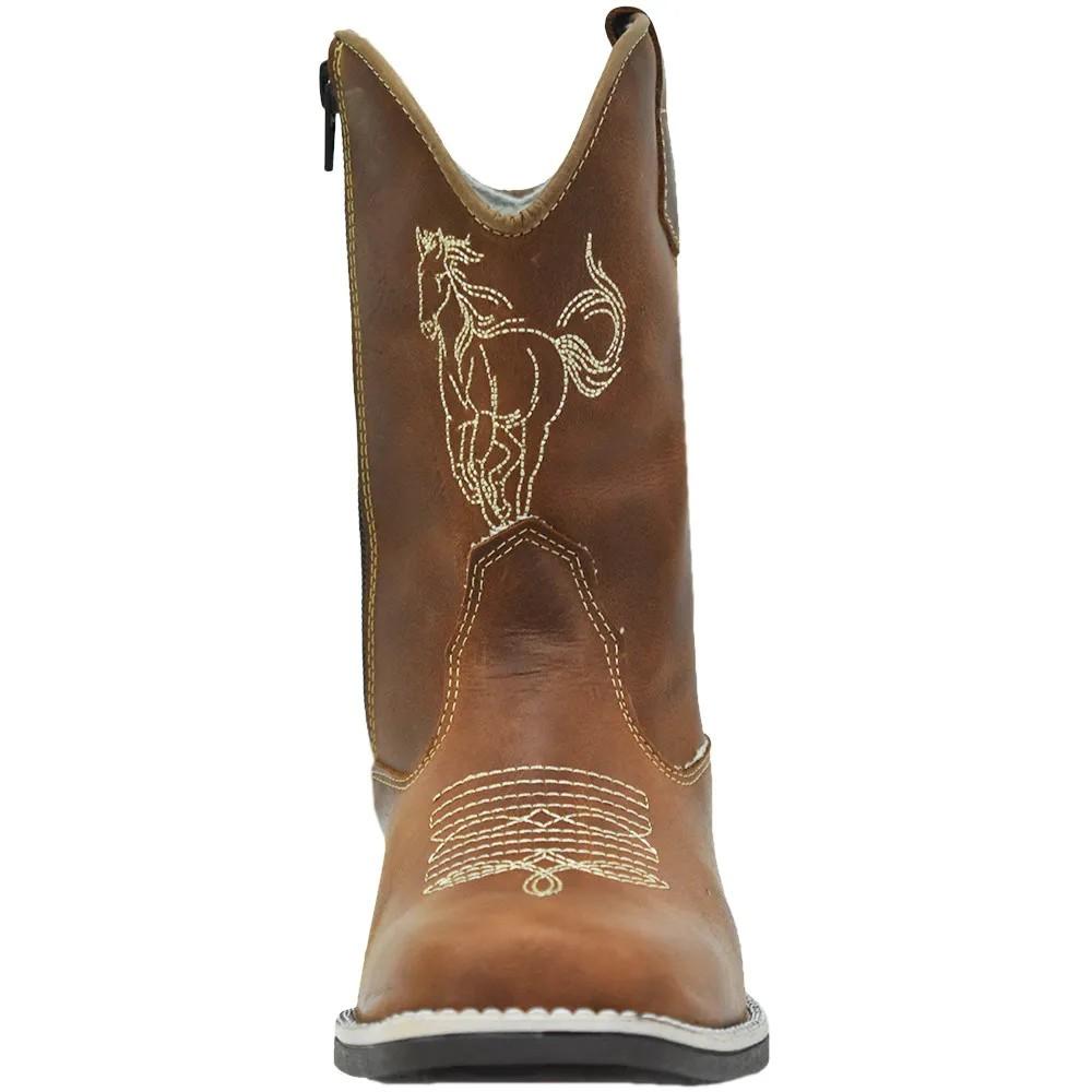 Bota Infantil Cowboys Bico Quadrado Caramelo com Florão