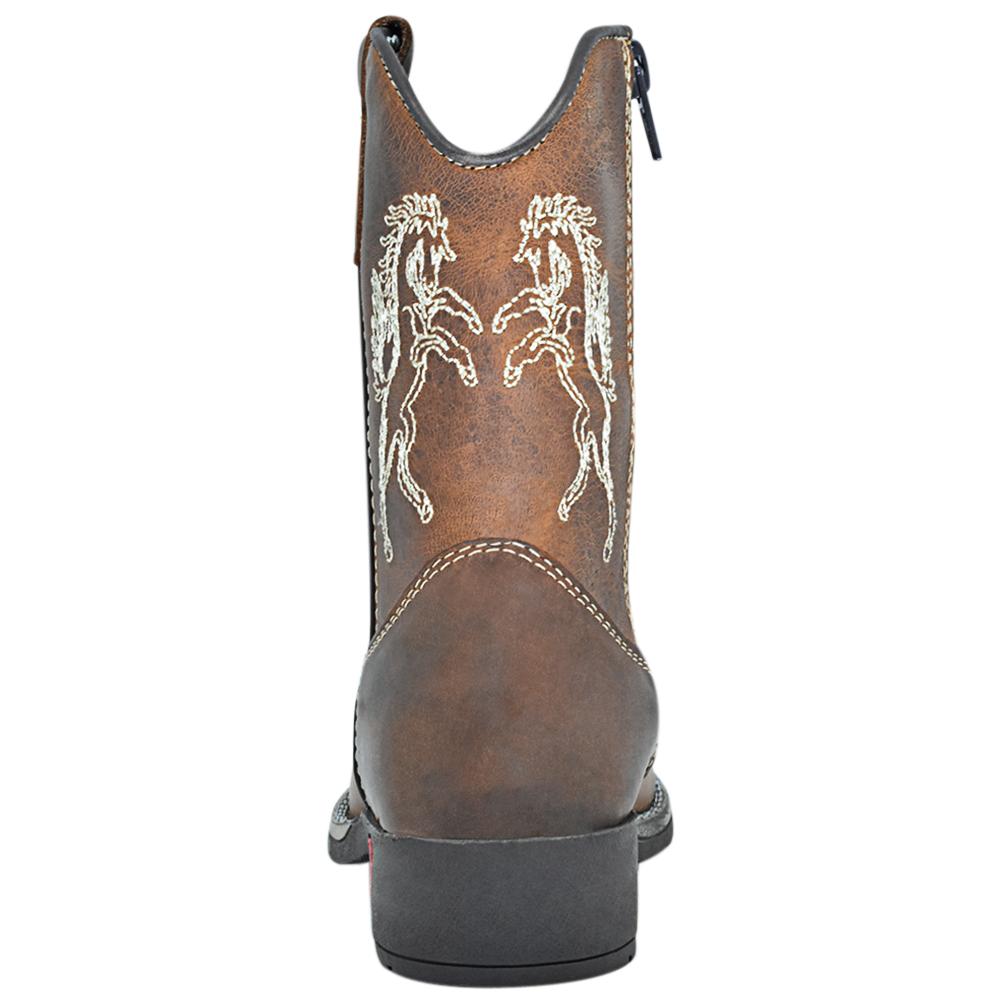Bota Infantil Cowboys Bico Quadrado Caramelo com Cavalos