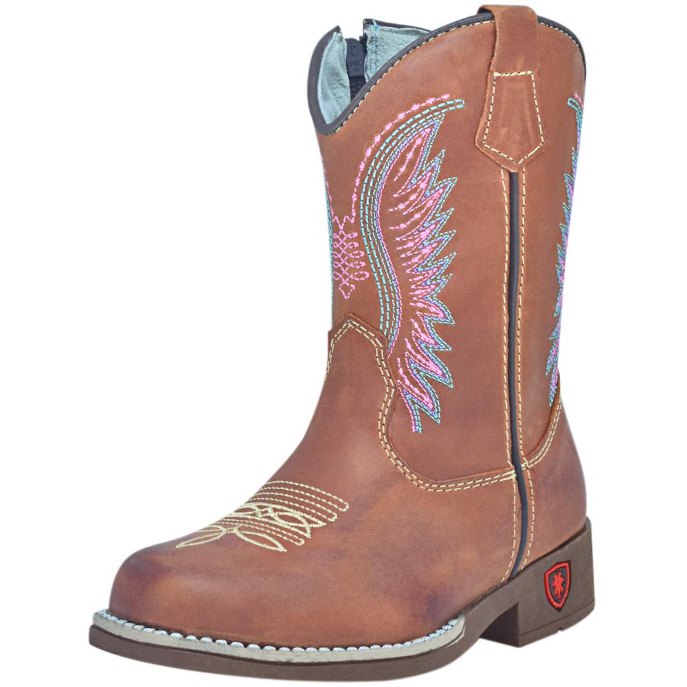 Bota Infantil Cowboys Bico Quadrado Mãe e Filha Marrom com Florão Texana