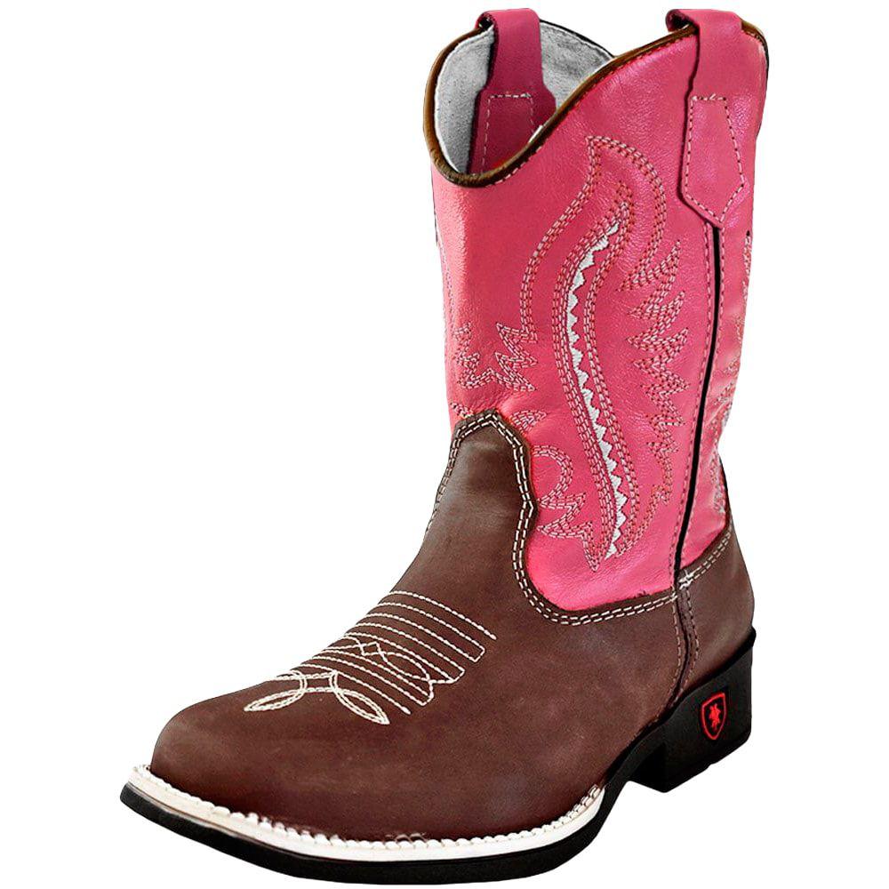 Bota Infantil Cowboys Bico Quadrado Rosa
