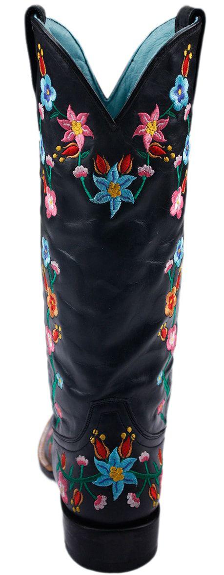 Bota Feminina Stetson Bico Quadrado Floral
