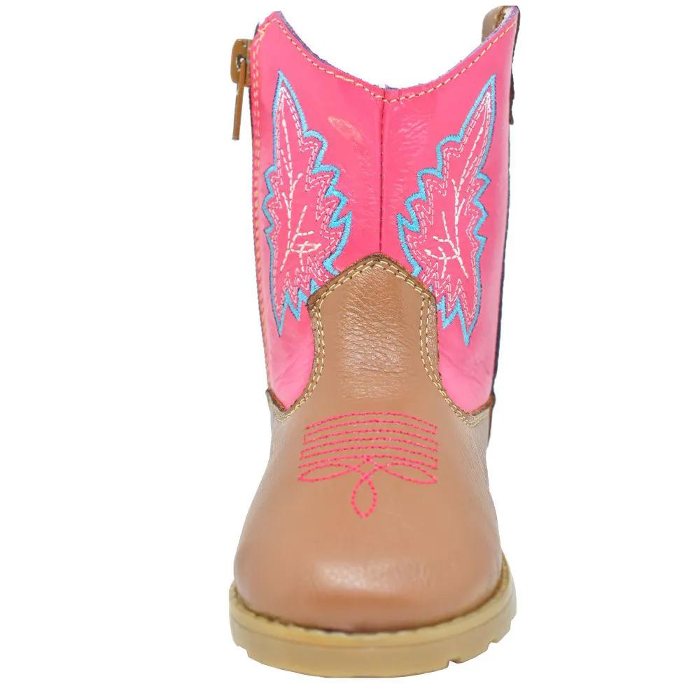 Bota Bebê Big Bull Boots de Couro Rosa