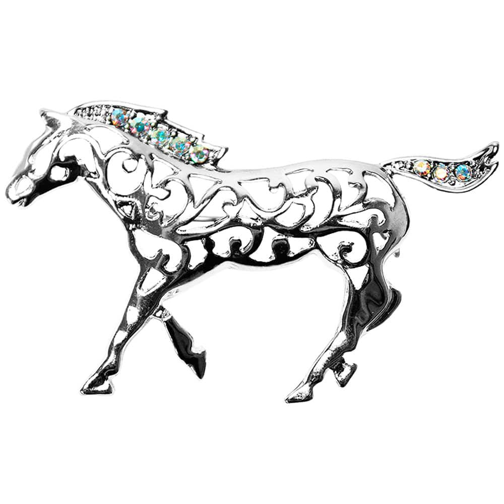 Broche Feminino Cowboys Silver Horse com Strass
