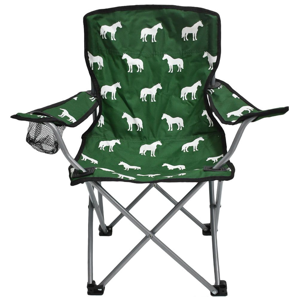 Cadeira Infantil Dobrável Verde com Cavalos Brancos