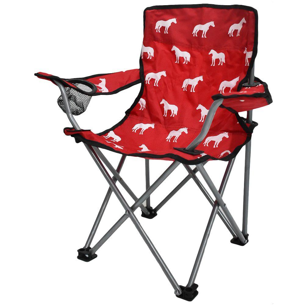 Cadeira Infantil Dobrável Vermelho com Cavalos Brancos