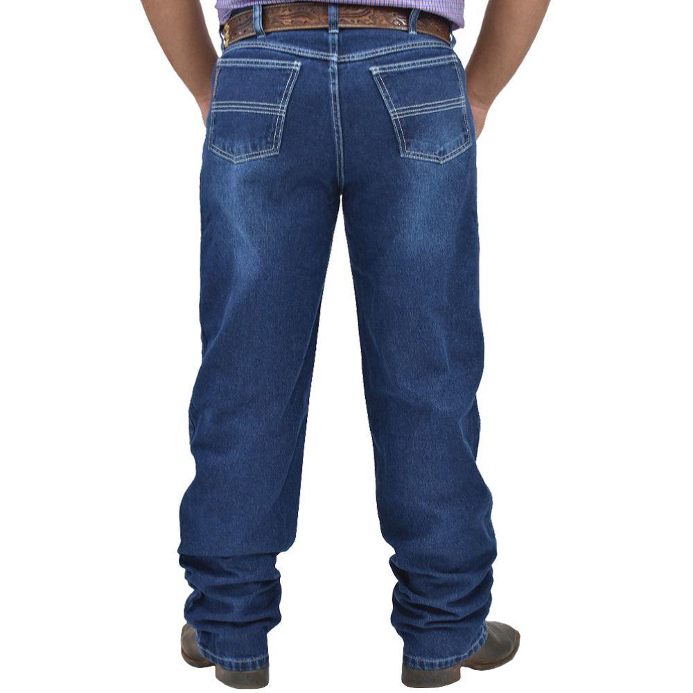 Calça Jeans Cowboys Estonada Cintura Média Corte Relaxed