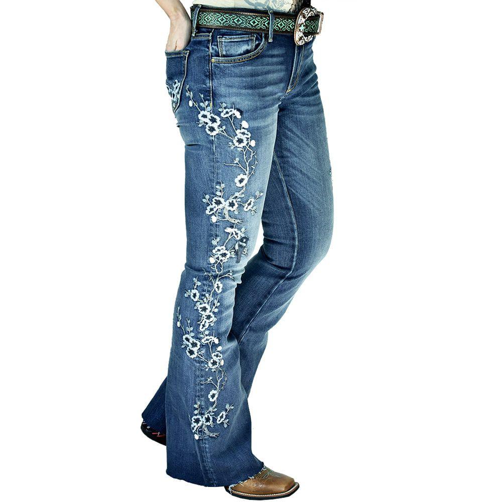 Calça Jeans Feminina Importada Bordados Florais