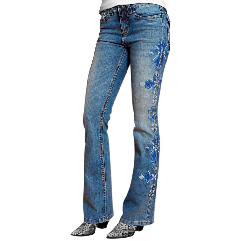 Calça Feminina Tassa Jeans Azul V1 Boot Cut Cintura Média