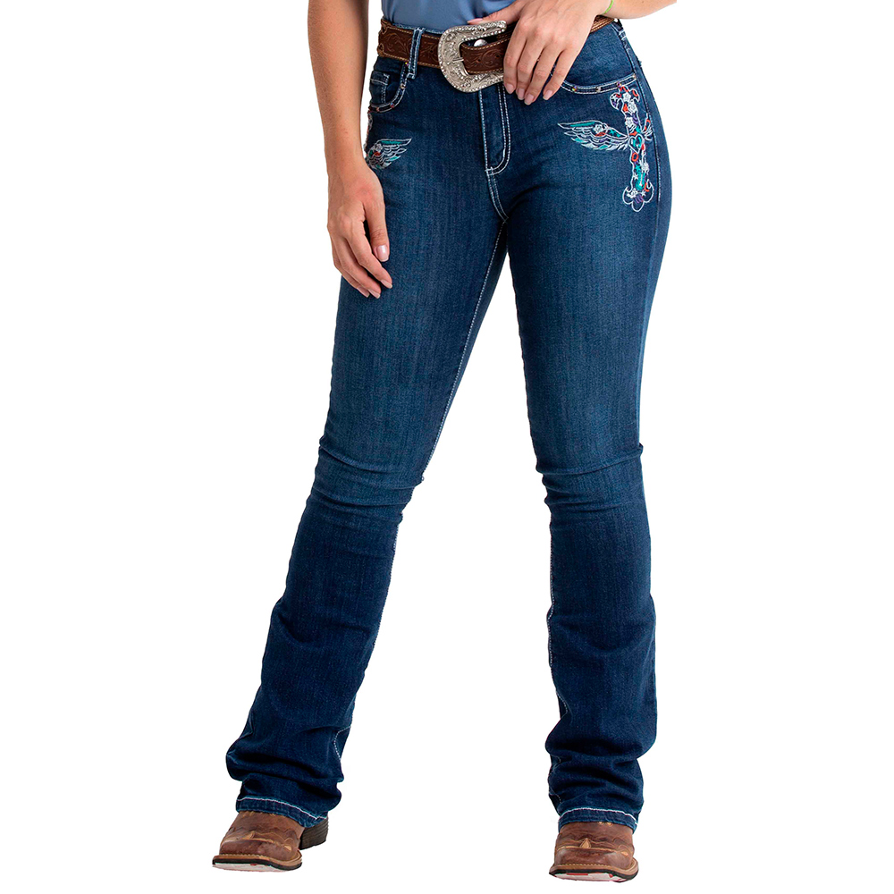 Calça Jeans Feminina Mãe e Filha West Dust Flare Bordado e Pedras Furta-Cor