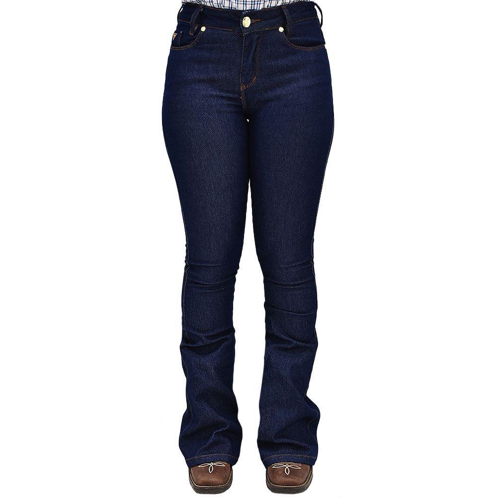 Calça Jeans Feminina Nacional Modelo Flare Estonado